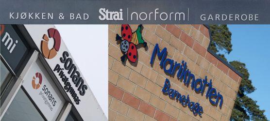 Et par eksempler på fasadeskilting med løse bokstaver og logo.