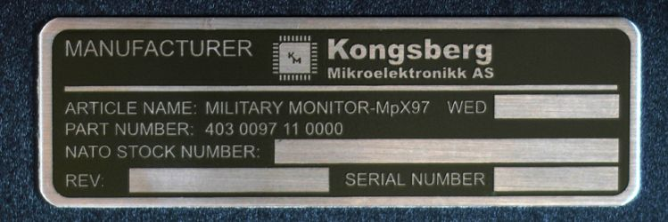 Industriskilt lagd for Kongsberg Mikroelektronikk.