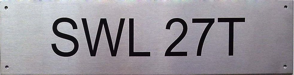 Industriskilt- syrefast SWL 27t