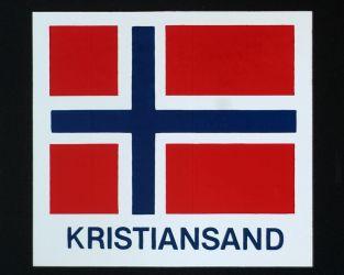 Klistremerker Kristiansand med flagg