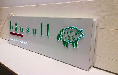 Lysskilt til bånsull med 3D bokstaver og logo.