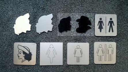 Diverse garderobe- og toalettskilt